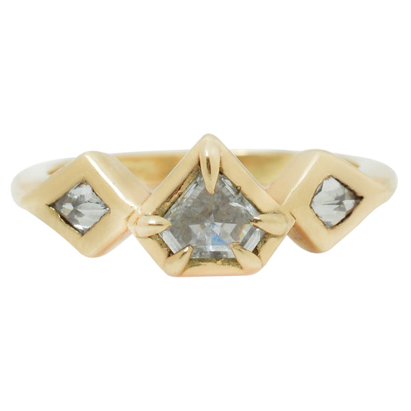 Lauren Wolf Jewelry Three Diamond Pentagon Ring in Yellow Gold