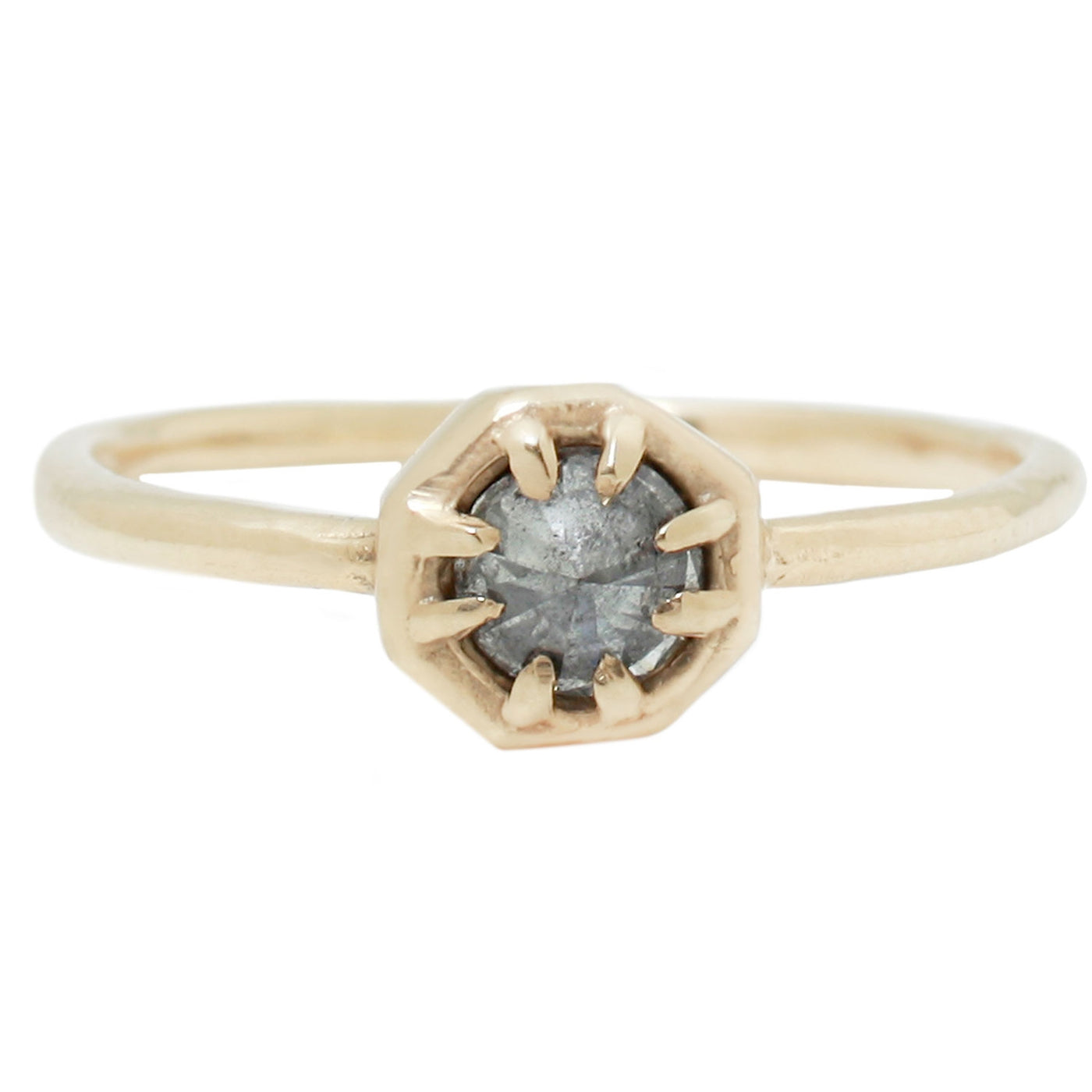 Lauren Wolf Jewelry - Tiny Gray Diamond Solitaire Ring Set in Yellow Gold