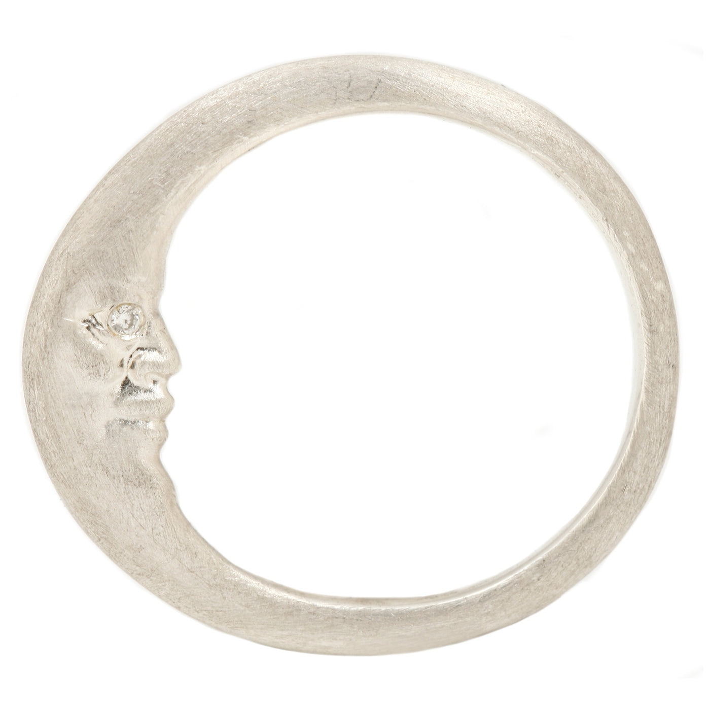Silver Crescent Moonface Ring