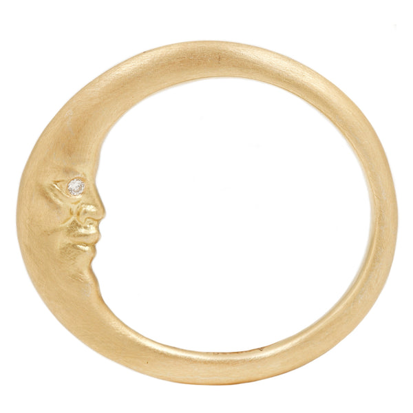 Gold Crescent Moonface Ring