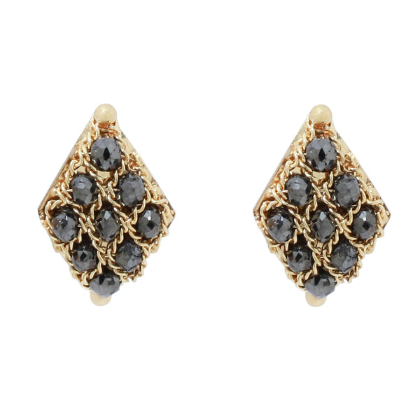 AMALI BLACK DIAMOND TEXTILE STUDS