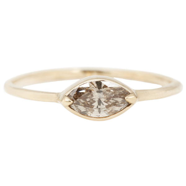 Lauren Wolf Champagne Diamond Marquise Ring Set in Yellow Gold