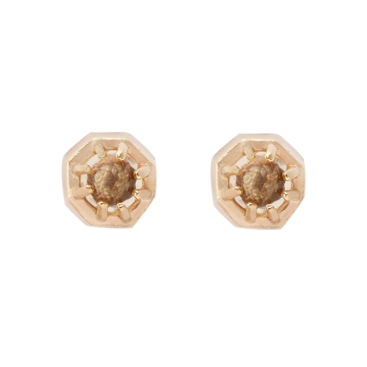 Lauren Wolf Yellow Gold Tiny Champagne Quartz Studs
