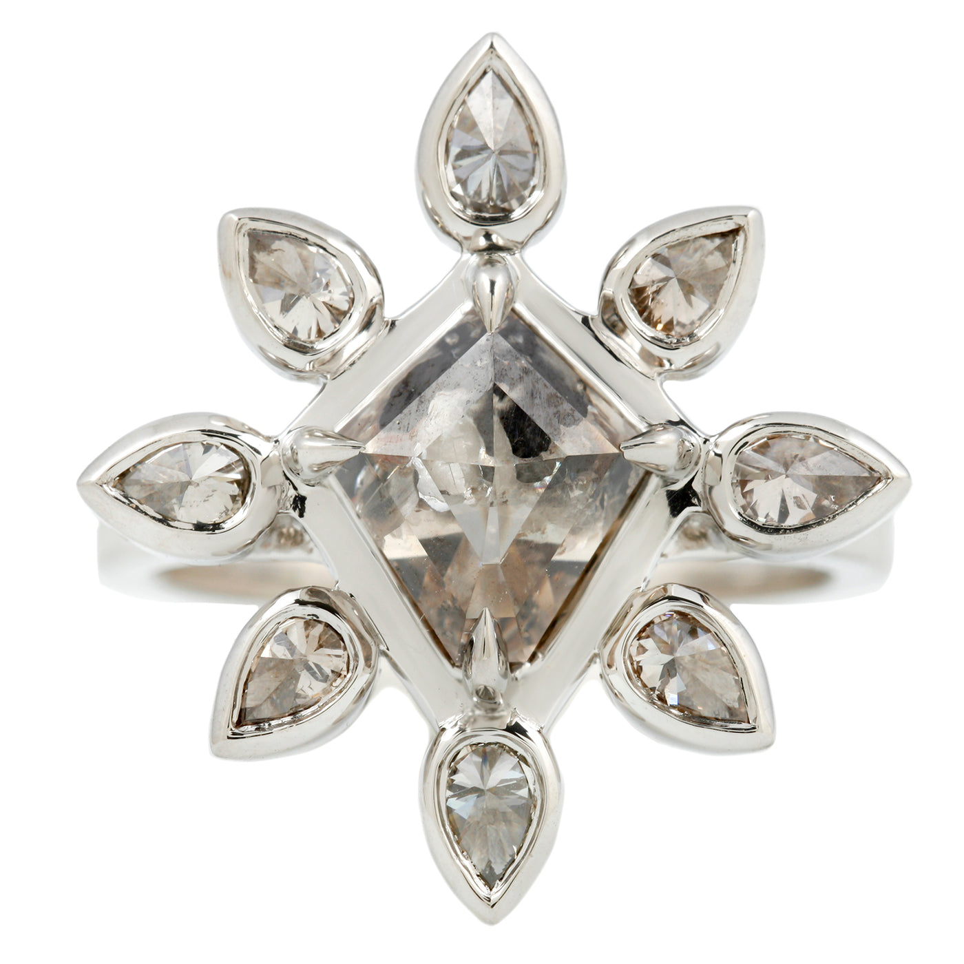 Platinum and Diamond Snowflake Ring by Lauren Wolf Jewelry