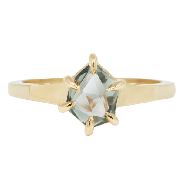 Lauren Wolf Jewelry Green Montana Sapphire Ring with Yellow Gold Band and Claw Setting