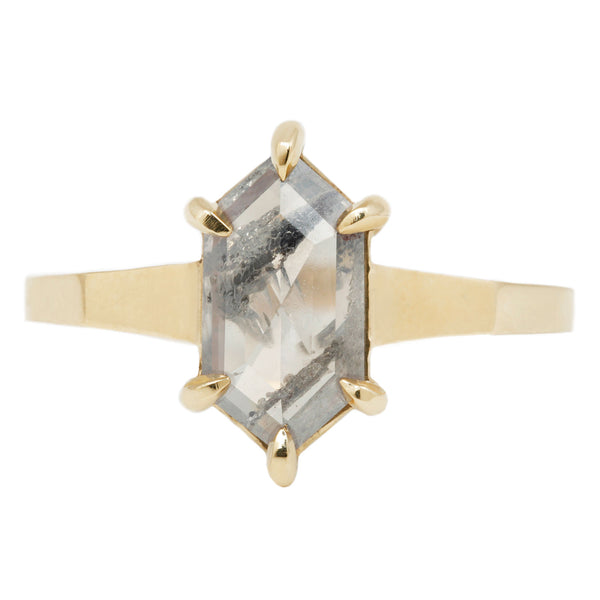 Salt and Pepper Yellow Gold Tall Hexagonal Solitaire Ring