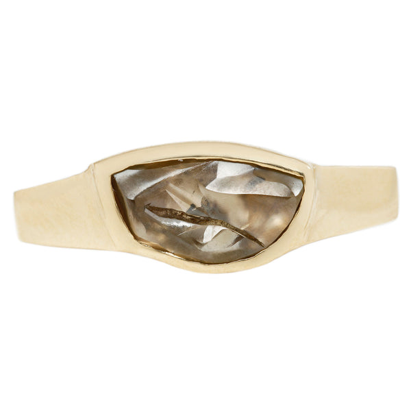 Asymmetrical Raw Brown Diamond Ring with Yellow Gold Band