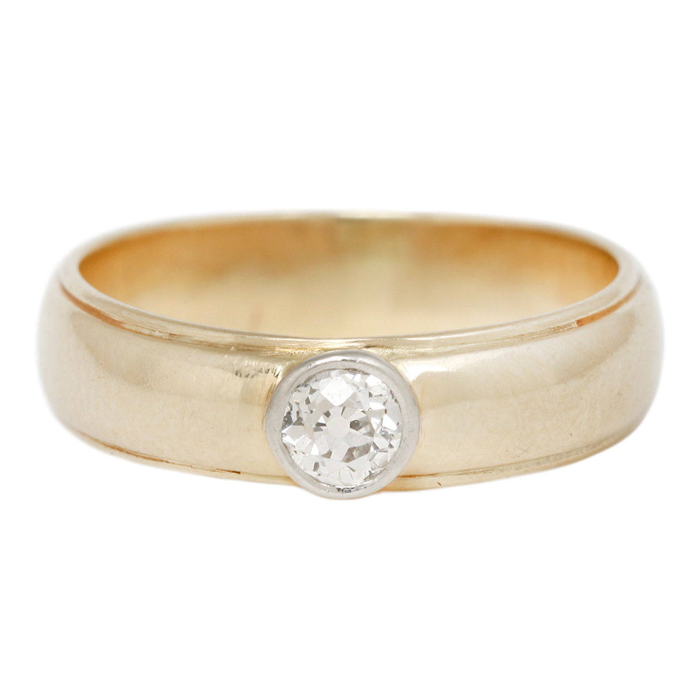 Vintage Yellow Gold Bezel Set Diamond Solitaire Ring