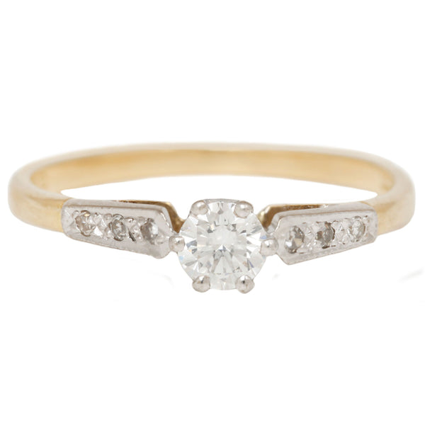 Vintage Pavé Sides Ring Gold and Diamonds in Yellow Gold