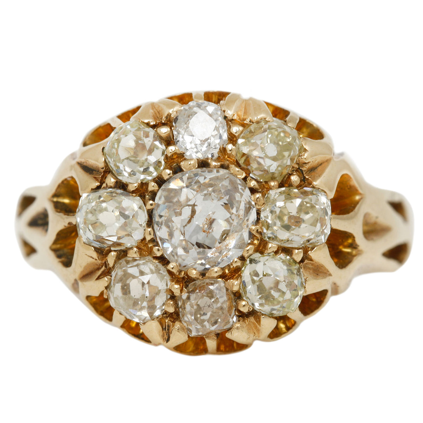 Victorian Cluster Flower Ring in Yellow Gold