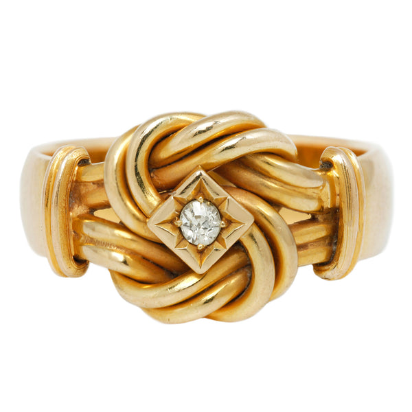 Vintage Gold Diamond Knot Ring in Yellow Gold