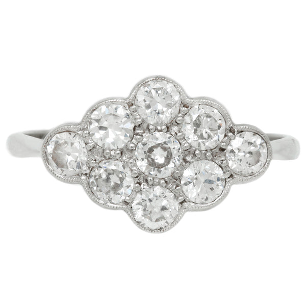 Vintage Deco Marquise Cluster Ring in White Gold and Platinum