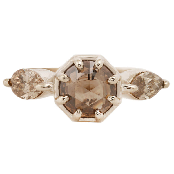 Cognac Diamond Marquise Ring