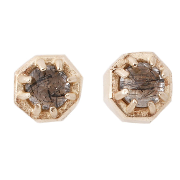 Lauren Wolf Tiny Tourmalinated Quartz Studs Yellow Gold