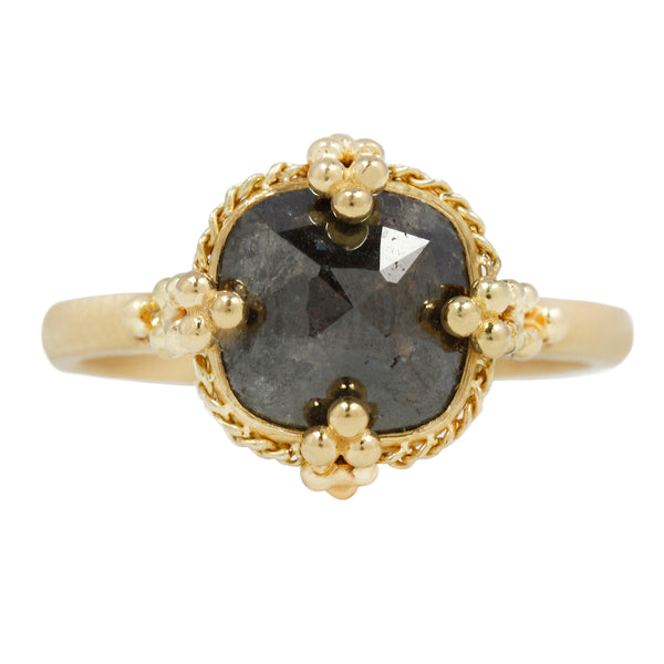 Dark Gray Diamond Textile Solitaire
