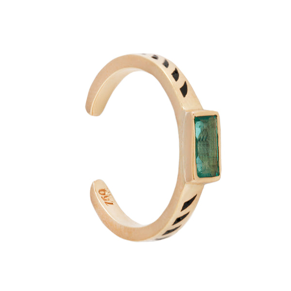 Emerald Jali Cuff Ring