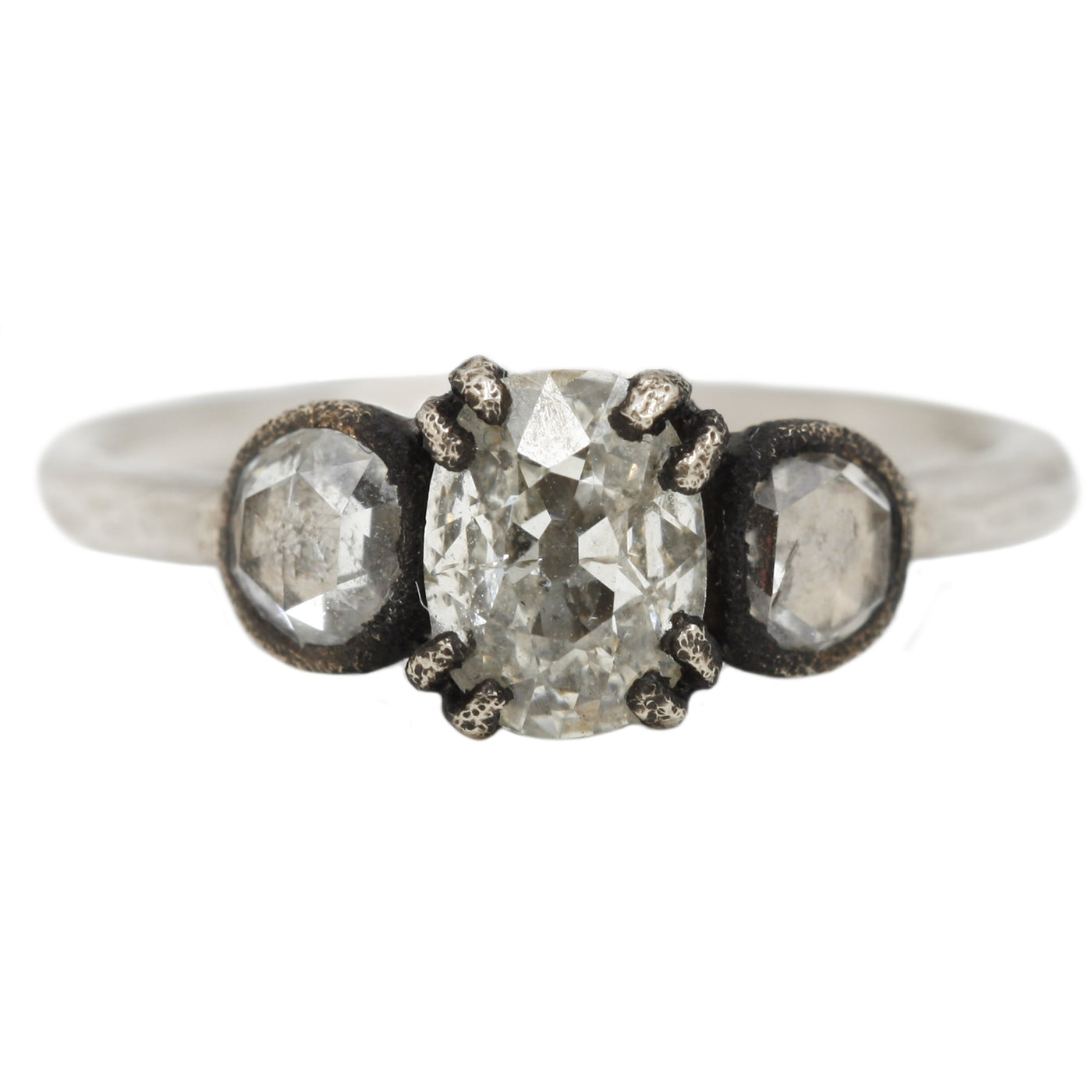 TAP by Todd Pownell Oval Three Stone White Diamond Ring in White Gold