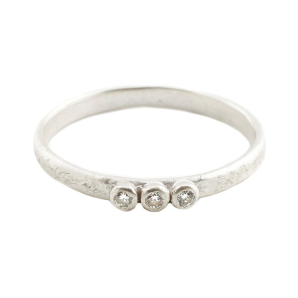 Sarah Swell Silver Three Diamond Band Ring