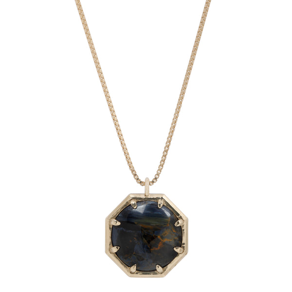 Lauren Wolf Pietersite Cabochon Octagon Necklace set in Yellow Gold