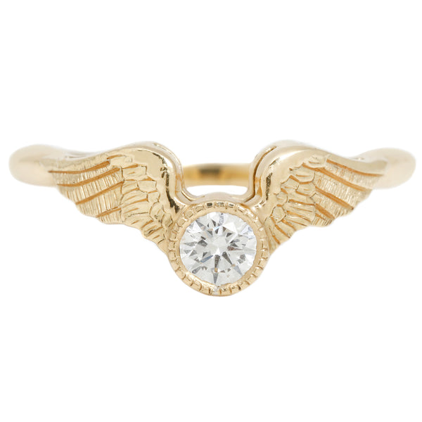 Anthony Lent Flying Diamond Ring set in yellow gold with a solitaire white diamond