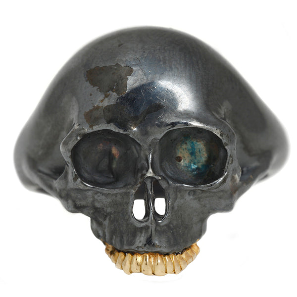 Anthony Lent Small Black Skull Ring