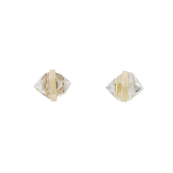 Herkimer Diamond and Yellow Gold Stud Earrings