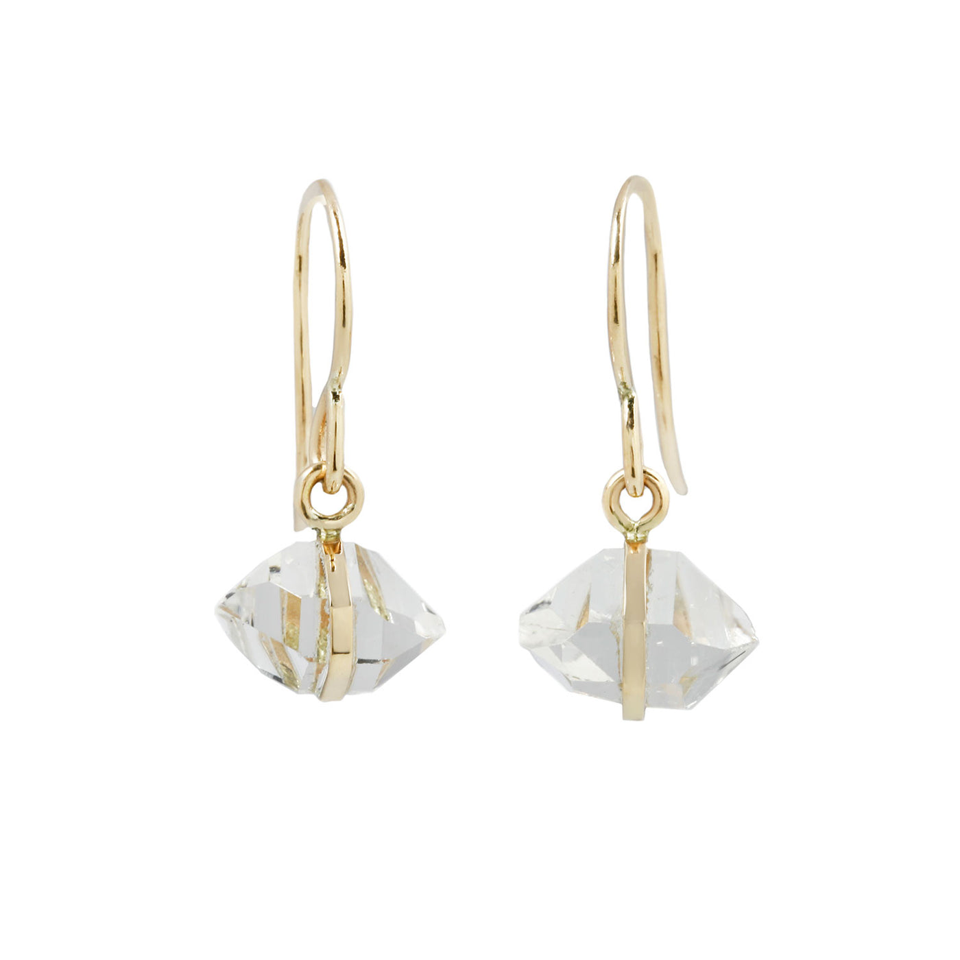 Herkimer Diamond and Yellow Gold Bezel Drop Earrings