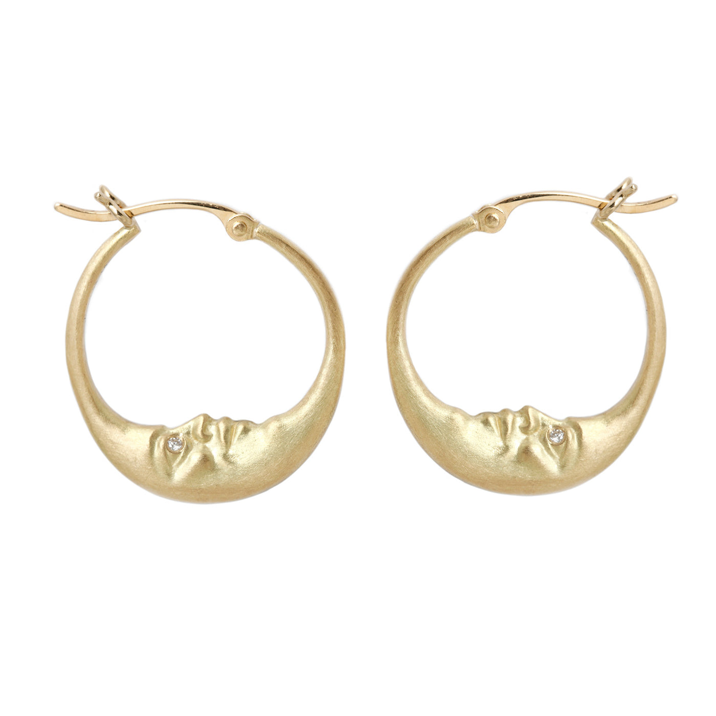 Anthony Lent Gold Crescent Moon Hoop Earrings