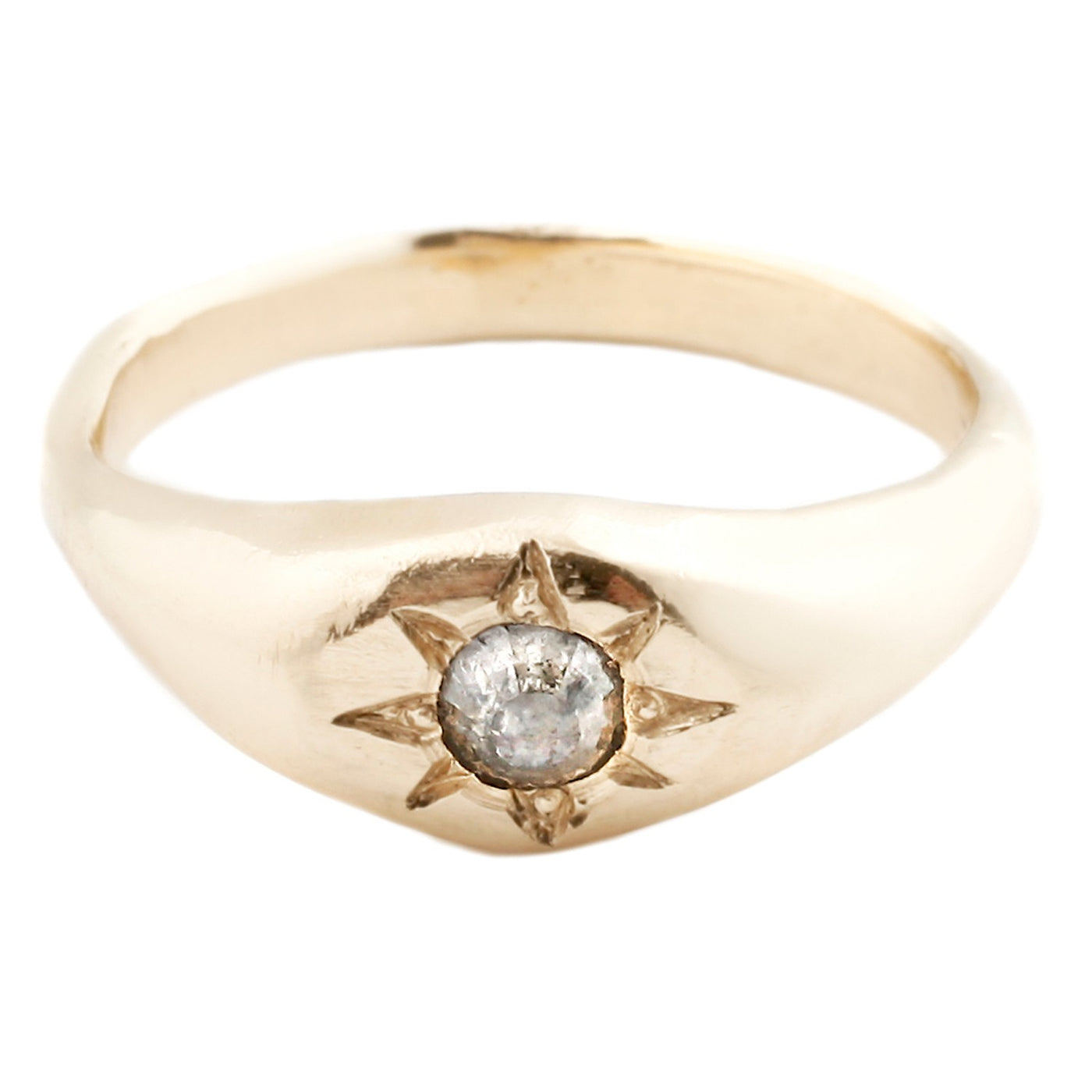 Adeline Gold True North Ring with a diamond
