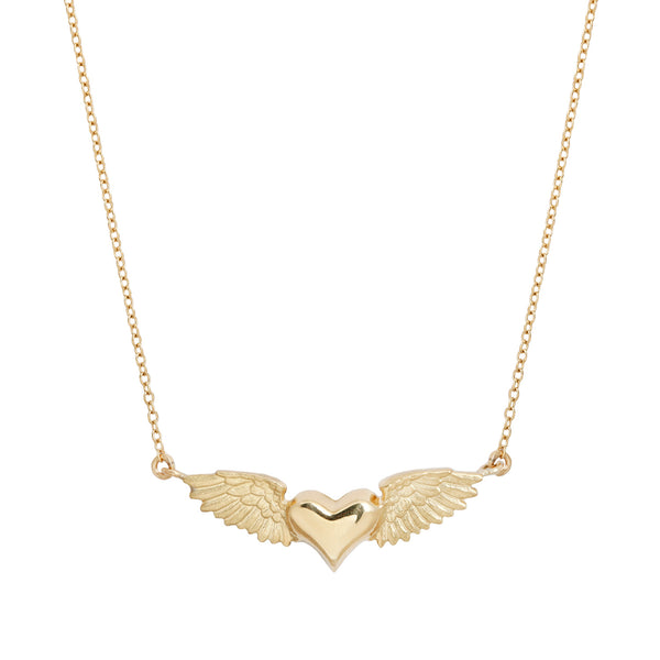 Anthony Lent Gold Flying Heart Necklace