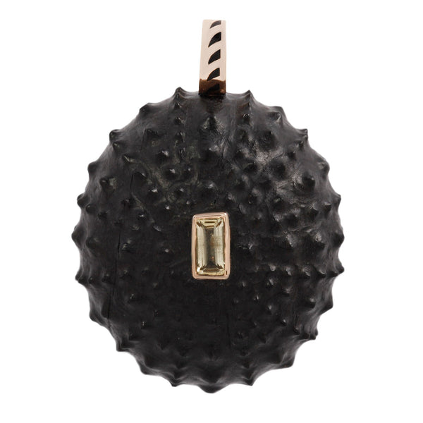 Dezso by Sara Beltran Carved Ebony Sea Urchin Pendant