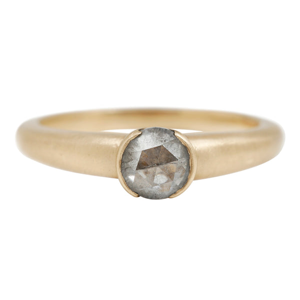 Rebecca Overmann Diamond Solitaire Bezel Ring in Yellow Gold