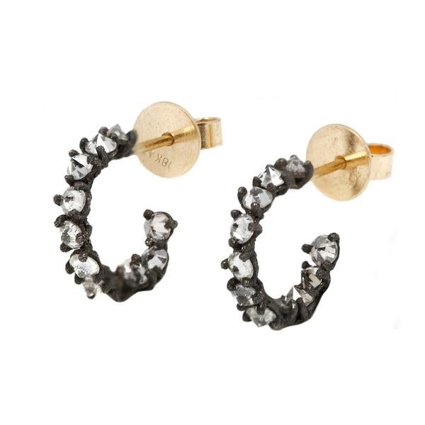 TAP by Todd Pownell White Diamond Cluster Hoop Earrings