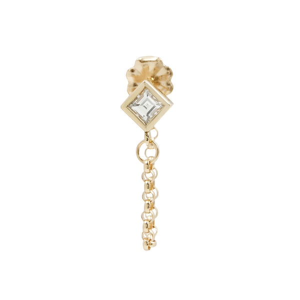 Carre Diamond Chain Single Stud