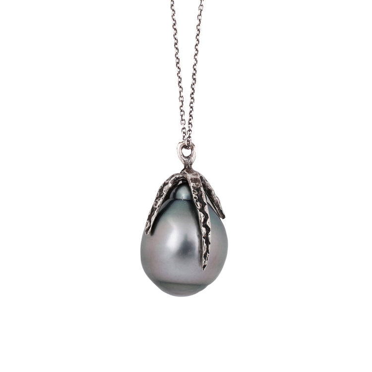 Gray Tahitian Pearl Drop Necklace