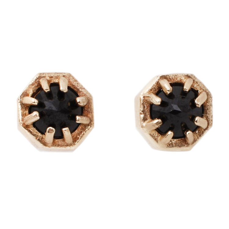 Lauren Wolf Tiny Octagon Spinel Studs in Yellow Gold