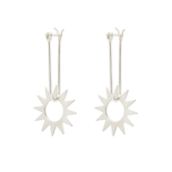 Latch and Spur Silver Earrings
