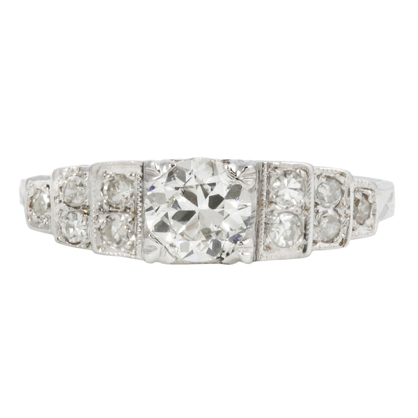 European Step Diamond Engagement Ring