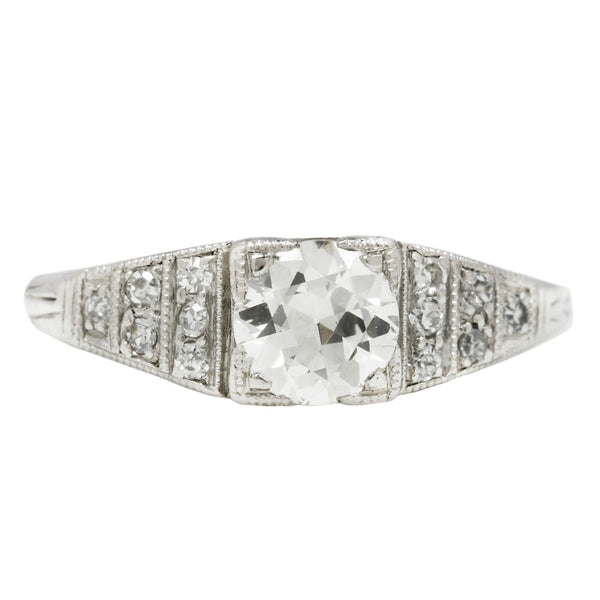 Platinum Diamond Tapered Art Deco Ring