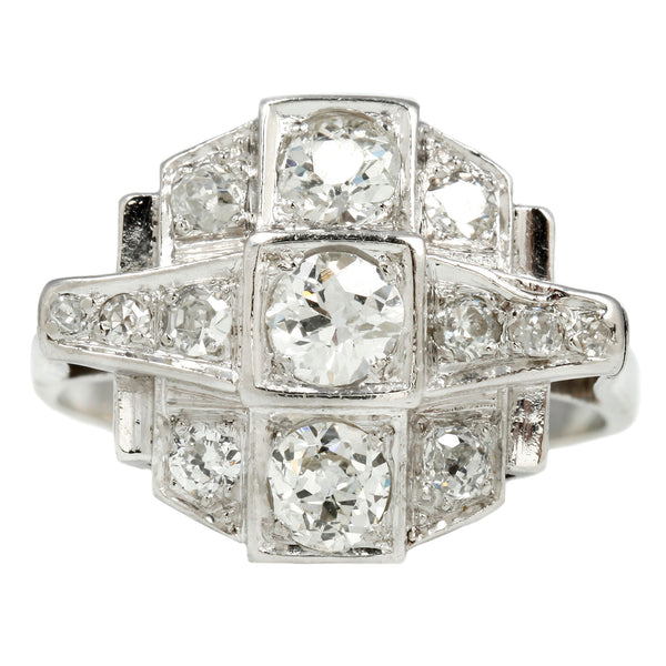Art Deco Platinum White Diamond Ring