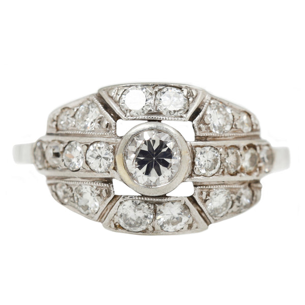 Vintage Edwardian Diamond Ring in White Gold