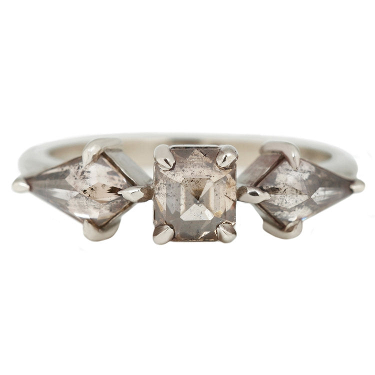 Lauren Wolf Gray Kites Three Diamond Ring White Gold Salt and Pepper