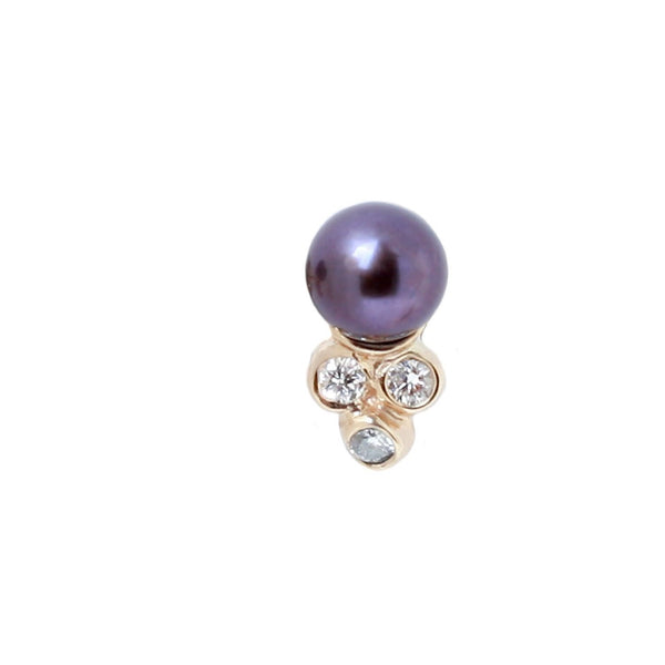 Dark Akoya Pearl Diamond Stud