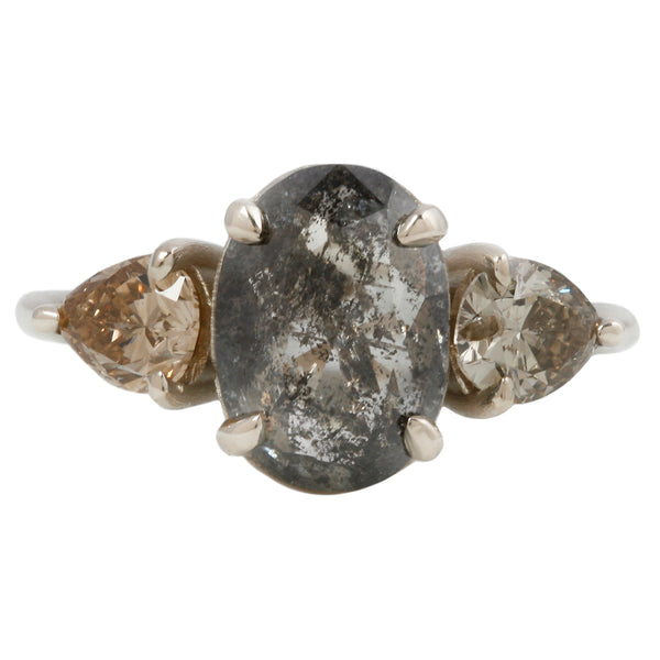 Speckled Oval Three Diamond Ring
