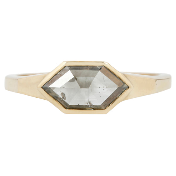 Sage Haze Hexagon Solitaire Ring