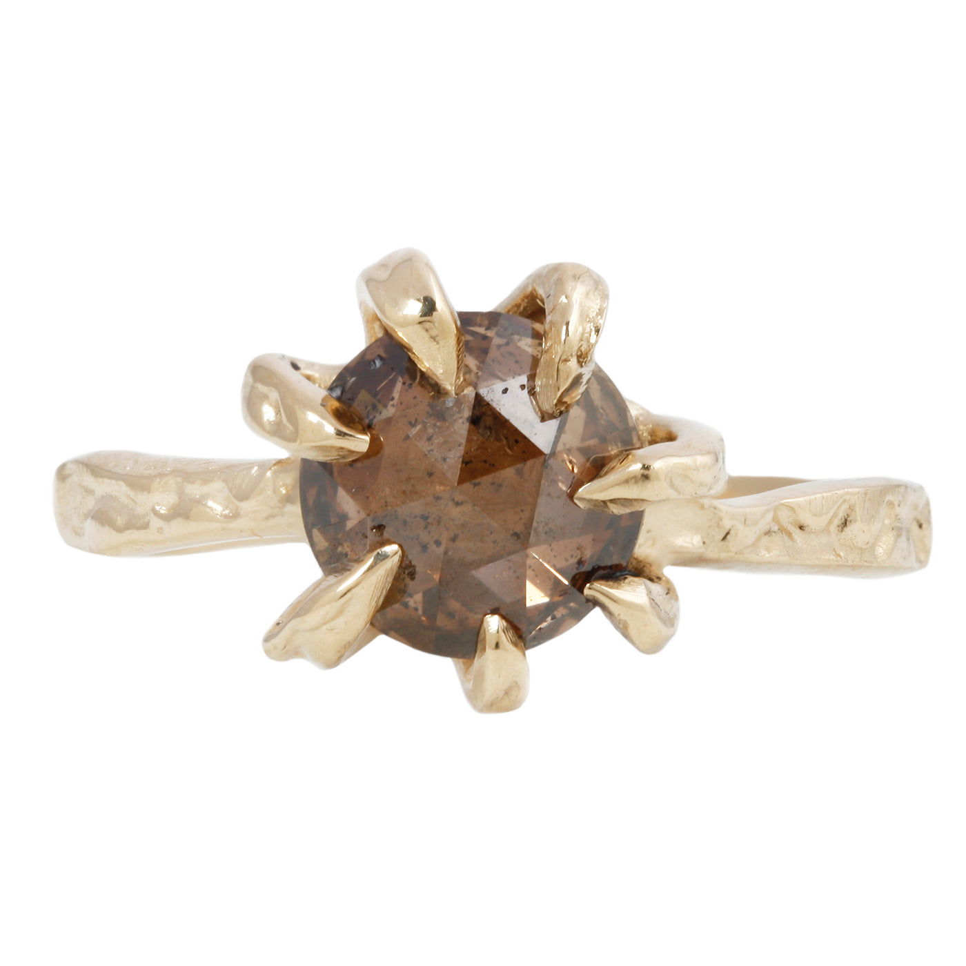 Round Cognac Stingray Claw Solitaire