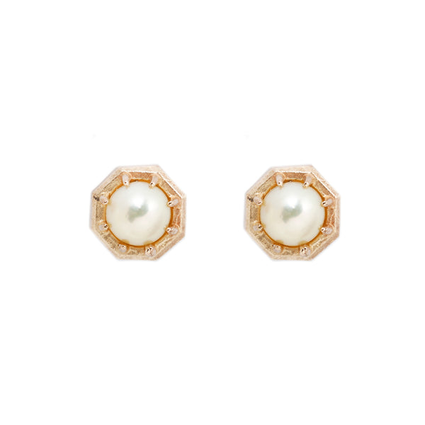 Yellow Gold Octagon Akoya Pearl Studs Earrings