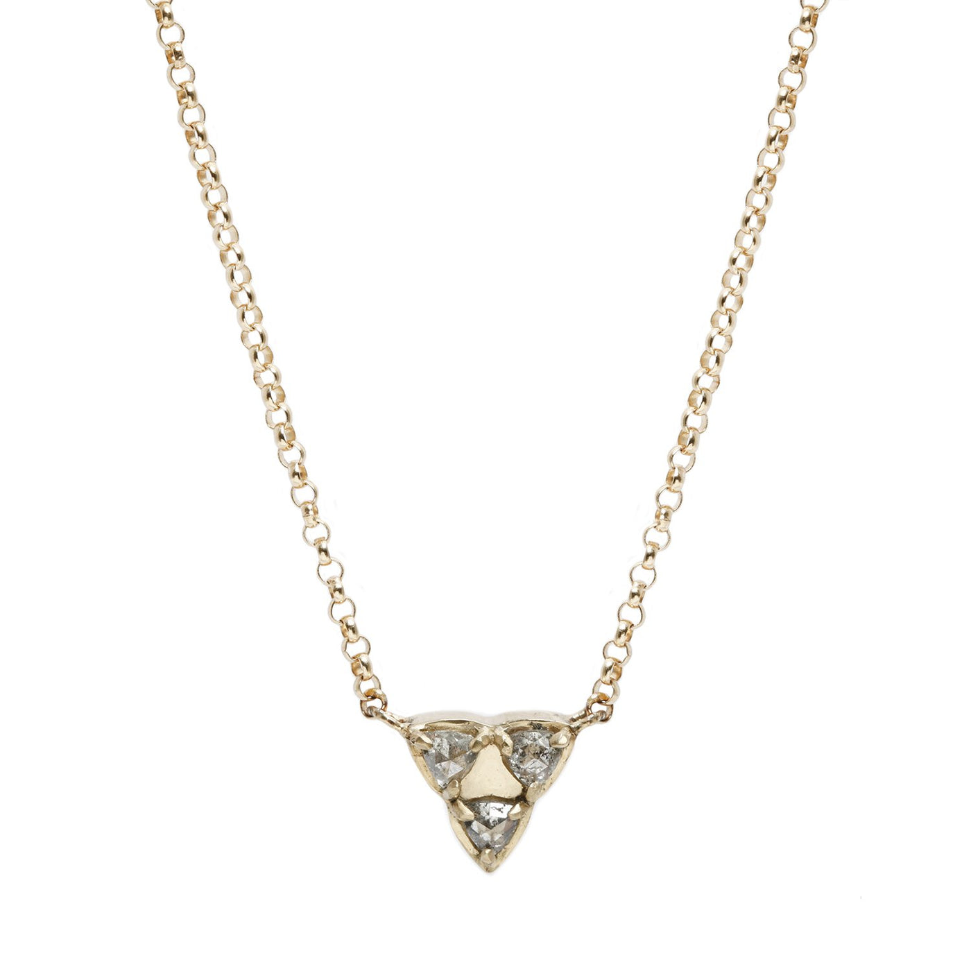 Lauren Wolf Three Diamond Triangle Necklace in Yellow Gold