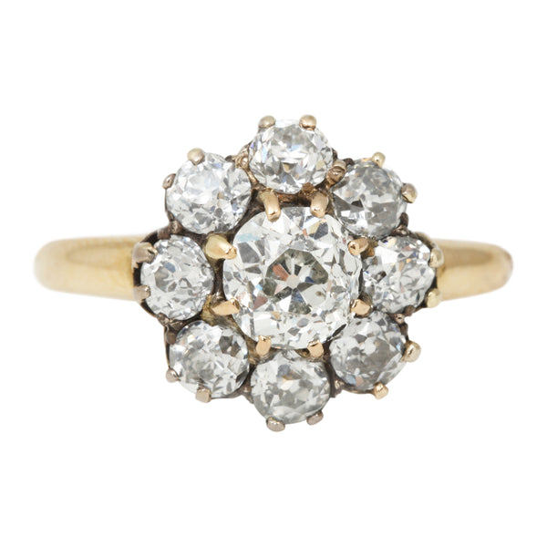 Vintage Nine Diamond Flower Ring in Yellow Gold