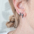 Silver Skull + Chain Earrings